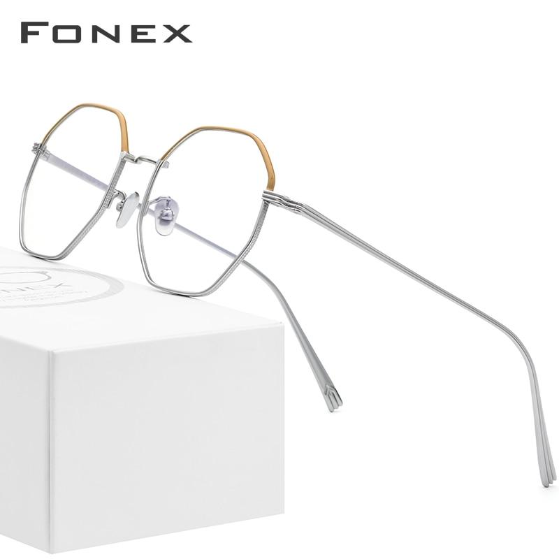Pure Titanium Glasses Frame Men Ultralight Polygon Myopia Optical Prescription Eyeglasses Frames 2019 Women Female Eyewear