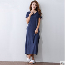 Long Nightgown Women Summer Solid Color V-neck Long Nightdress Cotton Short Sleeve Long Nightgowns Sleepshirts