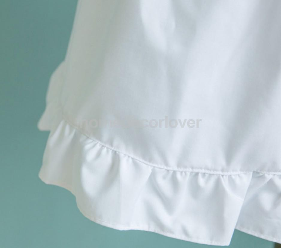 Victorian Pinafore Apron Maid Lace Smock Costume Ruffle Pockets White/Pink