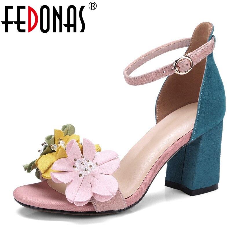 Fedonas 2020 패션 여성 정품 가죽 신발 보헤미아 꽃 발목 스트랩 샌들 여름 wome의 결혼식 파티 신발 여성-에서하이힐부터 신발 의  그룹 1