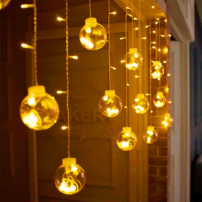 Big Globe Ball Indoor Window Christmas Curtain Light 3M 120 LED Wedding Balcony Home Fairy Light String 8MODE Party Holiday Lamp