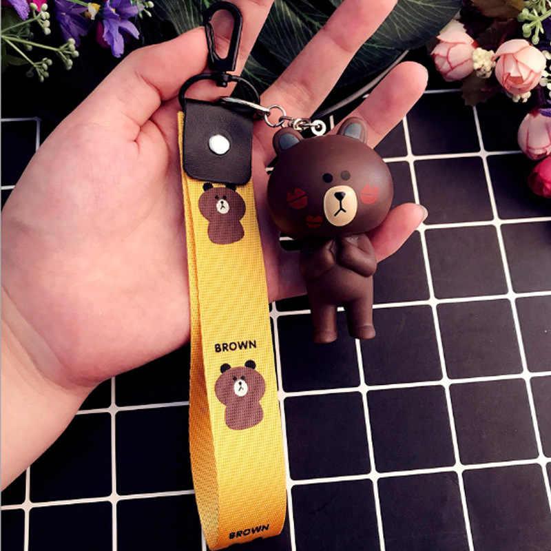 Animal dos desenhos animados Urso Coelho Boneca Chaveiro Mulheres Saco Cahrms Wrist Band Suporte Chave Do Carro Pingente de Acessórios do Presente Bugigangas Porte Clef