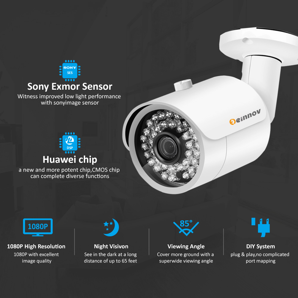 Image 4 - Einnov 8CH 5MP Video Monitoring Surveillance Kit Outdoor Home Security Camera System DVR AHD Camera CCTV Set P2P APP XMEye HD-in Surveillance System from Security & Protection