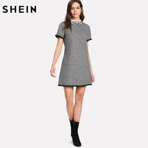 Image 5 - SHEIN Arbeit Kleid Frauen Elegante Schwarz und Weiß Kurzarm Bestickt Kontrast Kragen Fringe Spitze Trim Hahnentritt Kleid