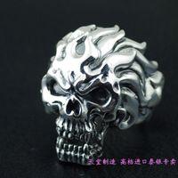 Тайландский импорт, адский посыльного стерлингового серебра 925 царствующий череп кольцо