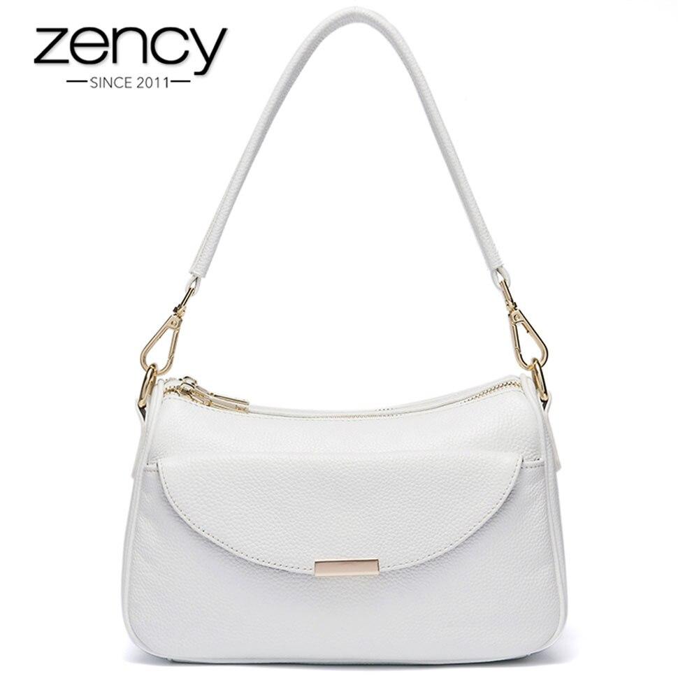 Zency 100% véritable cuir mode femmes sac à bandoulière été blanc petit sac dame Messenger bandoulière sac à main Simple noir