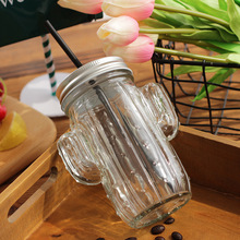 Reusable Cactus Shaped Glass Smoothie Tumbler