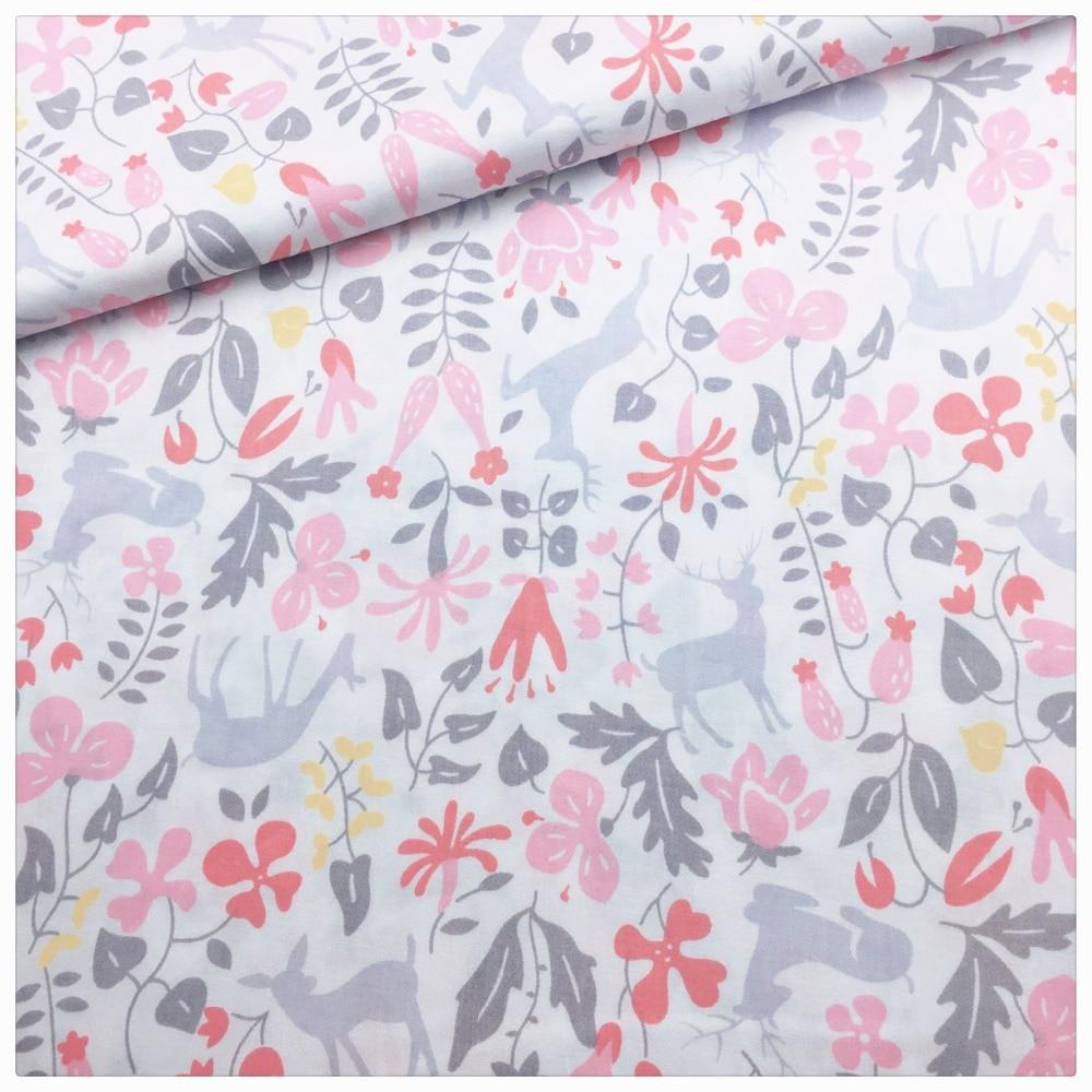 Syunss Rosa flor Deer impreso tejido de algodón para Diy costura ...