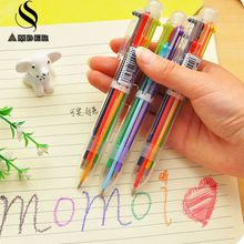 Novelty Multicolor Ballpoint Pen Multifunction 6 Colors Colorful Stationery Creative Plastic Pen School Supplies YZB6S