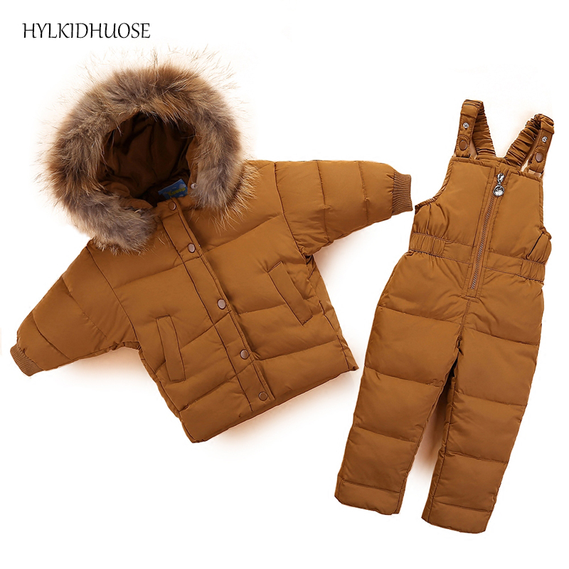 HYLKIDHUOSE 2017 Baby Girls Boys Winter Clothes Sets Windproof Infant Suits Down Thick WarmCoats+Bib Pants Children Kids Suits hylkidhuose 2018 baby girls boys winter clothes suits children clothes suits white duck down thicken coats bib pants kids suits