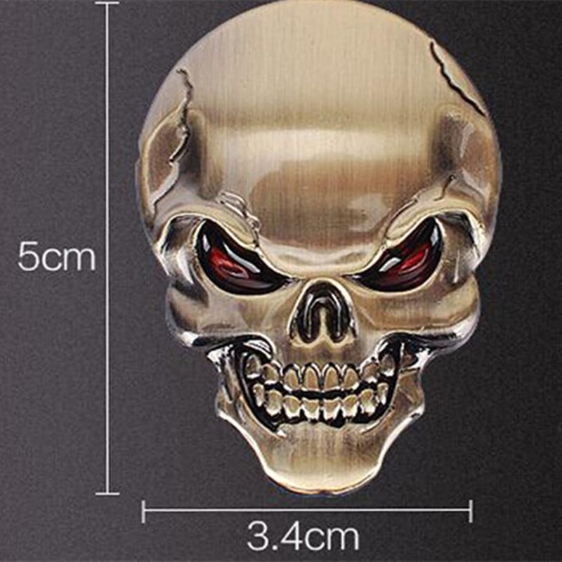 * DSYCAR 3D Metal Skull Moto Car stickers Logo Logo Emblem Badge Car - Ավտոմեքենայի արտաքին պարագաներ - Լուսանկար 2