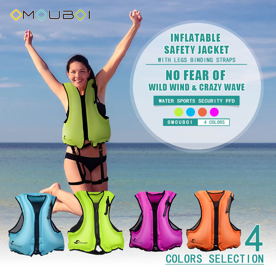 OMOUBOI Adult Inflatable Life Jacket Rescue Swimming Vest Drifting Surfing Snorkeling PPE Legs Binding Straps Lifesaving Jacket