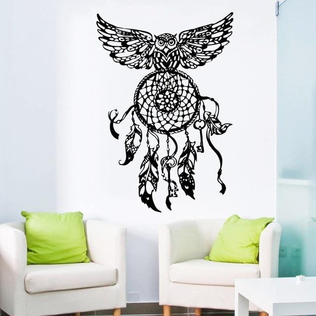 wallpaper dream catcher owl sticker on wall bedroom hippie native