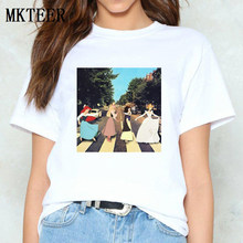 Prinzessin Abbey Road Grafik Tees Harajuku T Hemd Vogue Baumwolle Femme frauen 2019 Casual Vintage Snow White Print T-Shirt tops(China)