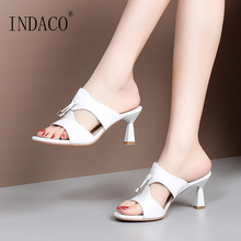 Women Slides Slippers Summer Shoes Genuine Leather Footwear Open Toe Tassel Sliders
