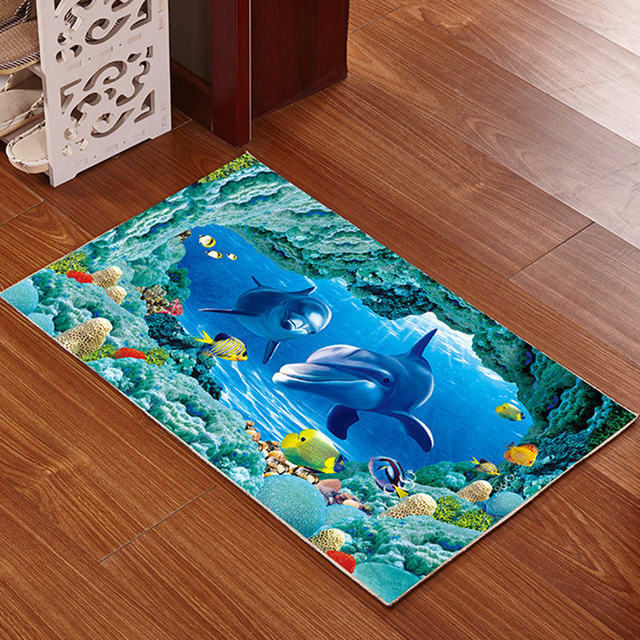 Printed Bathroom Memory Foam Rug Kit Non Slip Bath Mats Floor Carpet Ped Pad
