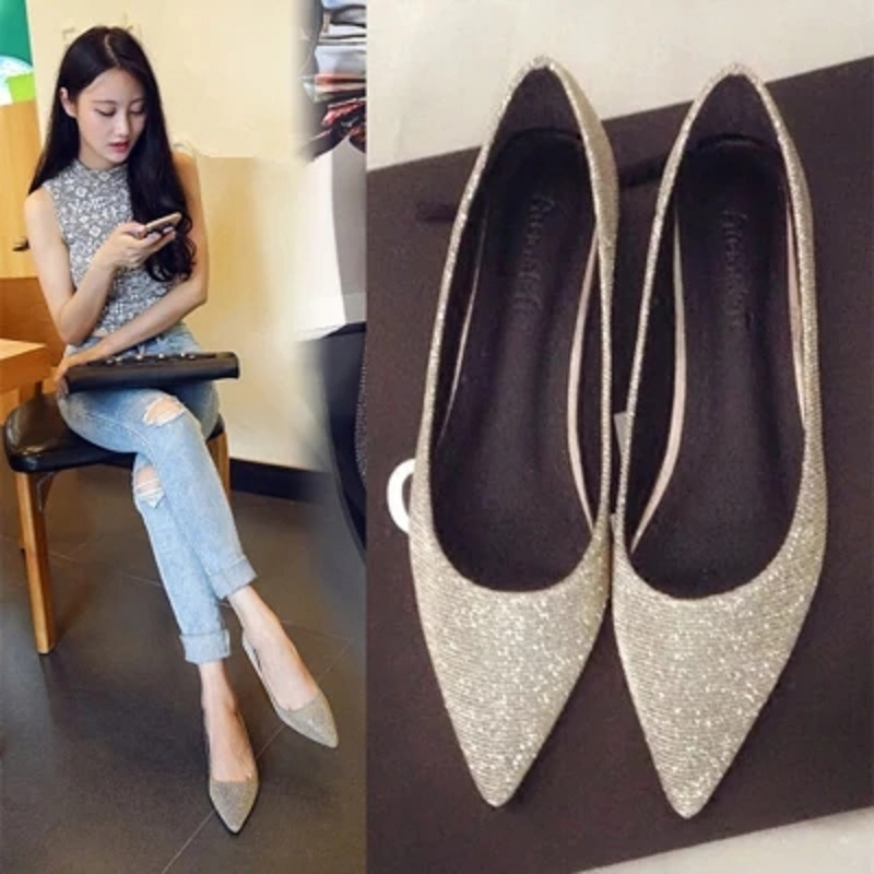 2018 spring new silver flat surface casual shoes with flat shoes with sexy large size shoes Woman