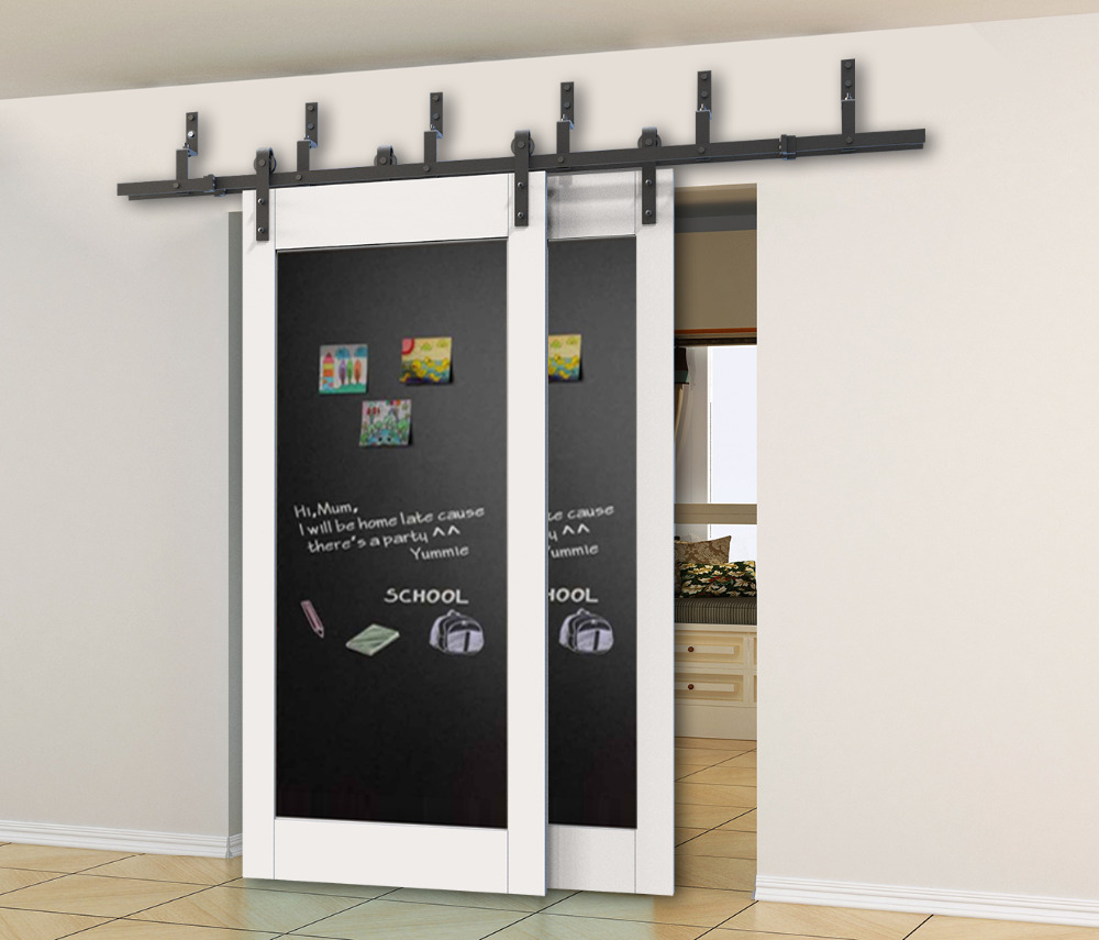Compare prices on bamboo sliding door online shoppingbuy low diyhd 5ft 8ft rustic black bypass sliding barn wood door hardware bypass double sliding barn vtopaller Gallery