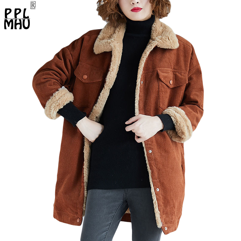 Plus Size Long Winter Woman Coat Thick Warm Corduroy Jacket Lambswool Winter   Parkas   Coat Ladies Long Sleeve Warm Outerwear