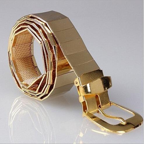 Los nuevos 2015 hombres forman a la moda todos los cinturones de aleación de metal Hombres ocio hebilla de metal cinturones / plata dorada Negro Cinturones de hombres y mujeres