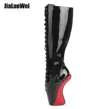"Jialuowei 7 ""עקב גבוהה פוני פרסה Sole ללא עקבי בלט מגפי מיקוד טו מחודד שרוכים העקב מוזר המפלגה מועדון לילה מגפיים בגובה הברך"