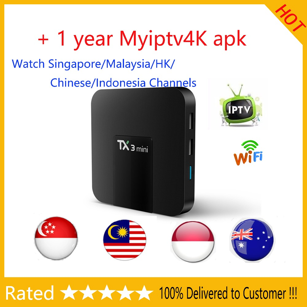 TX3 mini Android tv box with 1 year Myiptv Myiptv4k Watch Malaysia  Singapore Indonesia Channels for Southeast Asia Australia
