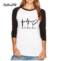 Ultime Primavera T-Shirt Maglia A Manica Pieno Fede Speranza Amore Christian T Shirt Stampata delle Donne di Alta Qualità cristianesimo dio Top Tees