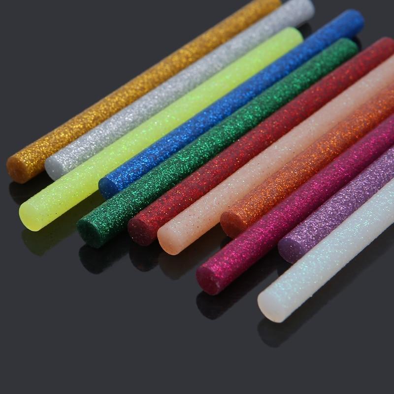 11pcs 7x100mm Hot Melt Glue Stick Mix Color Glitter Viscosity DIY Craft Toy Repair Tools