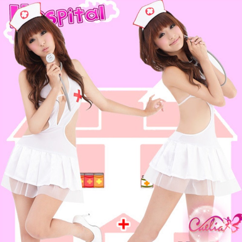 Buy Hot Sale Free Shipping Nurses wear club seduction outfit cosplay lingerie nurse uniform deep-v backless role play sexy lingerie