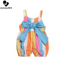Chivry 2019 Cute Infant Baby Girls Rainbow Stripe Bowknot Sleeveless Rompers Summer Fashion Jumpsuit Playsuits