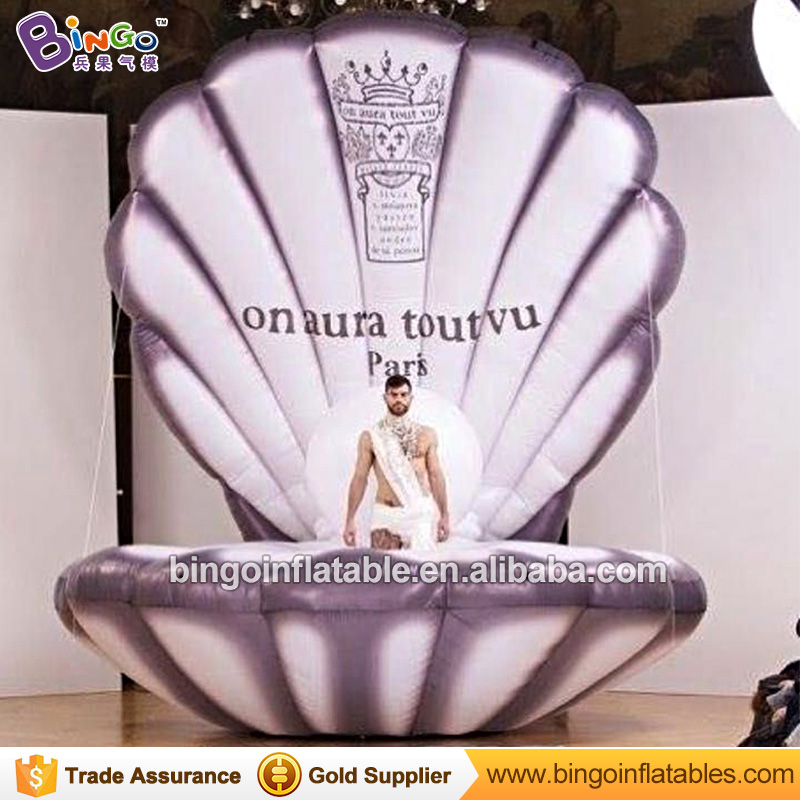 Giant Inflatable Seashell 4M / 13ft High Black Inflatable Mermaid Seashells with Free Fan N Lighting for Stage Decoration giant inflatable balloon for decoration and advertisements