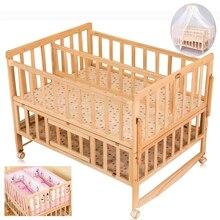 Детская кроватка для Близнецов с москитной сеткой, двойная детская деревянная кровать может быть соединена со взрослой кроваткой