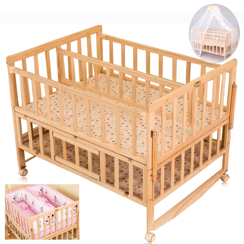 Baby Twins Crib With Mosquito Net,Double Infant Wooden Bed Can Joint With Adult Bed baby bed curtain kamimi children room decoration crib netting baby tent cotton hung dome baby mosquito net photography props