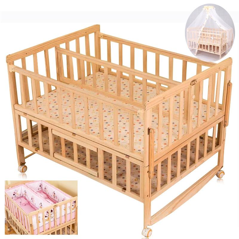 Gemelos Del Bebe Cuna Con Mosquitera Doble Infantil Cama De - Camas-dobles-para-adultos