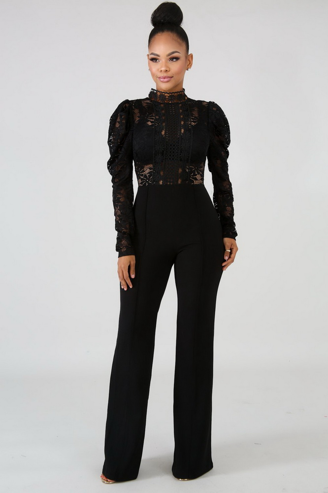JIZHENGHOUSE Sexy Women O-neck Long Sleeve Lace Elegant Casual Jumpsuit Winter Wide Leg Straight Party Rompers Overalls