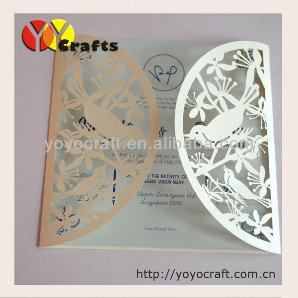 Inc47 Custom Made Vintage Wedding Invitation Card Love Bird Design