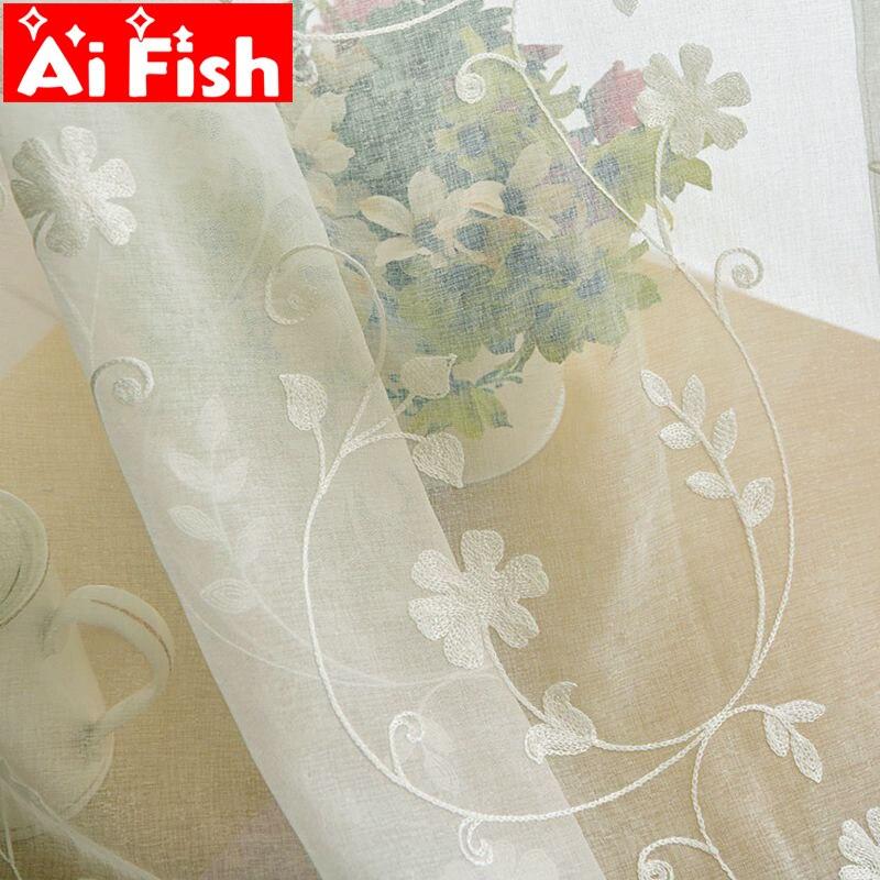 Pastoral voile branco bordado para sala de estar janela cortinas triagem para o quarto tule janela/painéis DF004-40