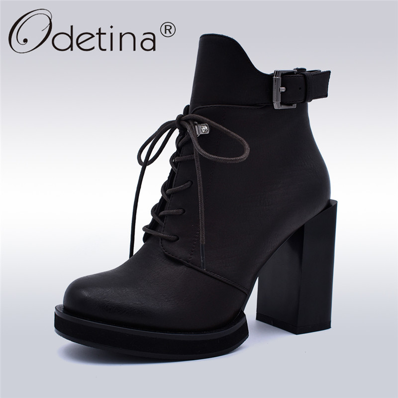 Odetina Fashion Square High Heel Women Buckle Strap Ankle Boots Platform Lace Up And Side Zipper Booties Round Toe Autumn Winter fashion embroided design spring winter casual women shoes zipper round toe square high heels women ankle booties free shipping