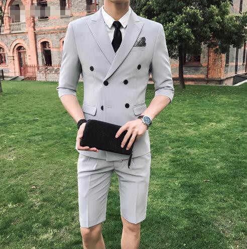 TPSAADE ファッションメンズ 2 個夏ダブルブレストホワイト/レッド/グレー/ブルースリムフィットショートパンツ結婚式パーティードレス新郎
