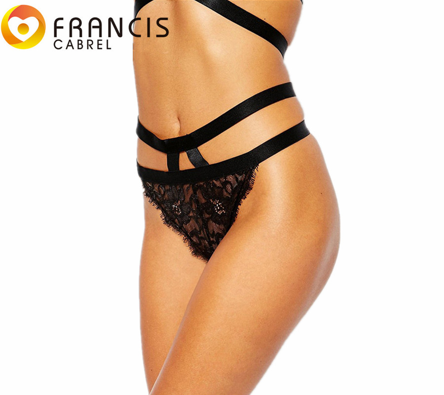 Buy New Design Panties Women Crotchless Double Strap Thong Lace Embroidery Brief Hot Sale Underwear Ladies Plus Size VS  Panties