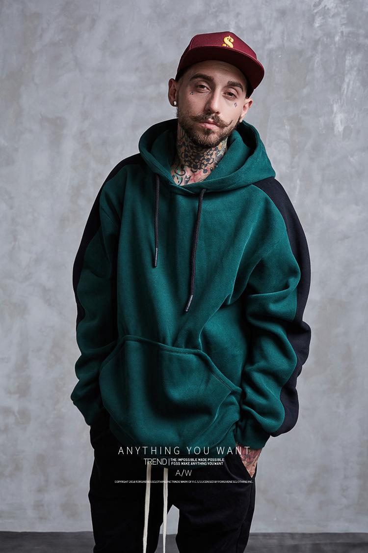 Aolamegs Hoodies Men Side Striped Hood High Street Pullover Cotton Fashion Hip Hop Streetwear Casual Big Pocket Hoodie Autumn (21)