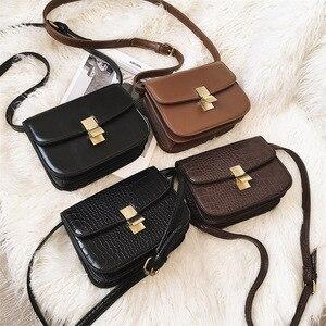 Image 2 - High quality designer satchels brand pu leather purses and handbags ladies chain clutch tofu bag messenger tote Alligator flap