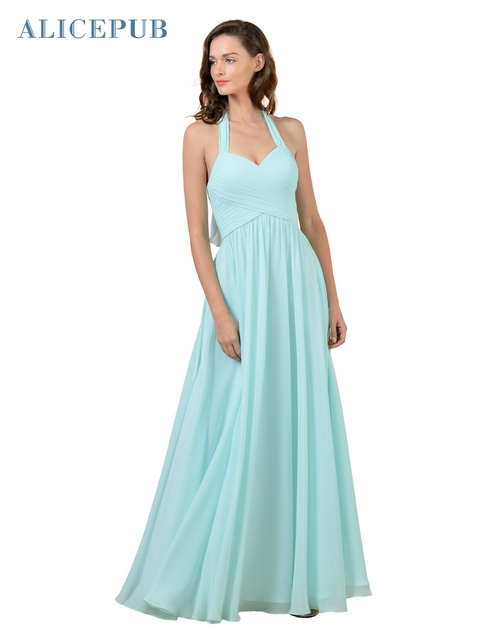 d5cd313f82 Alicepub Halter Bridesmaid Dresses Long Chiffon Sexy Wedding Party  Homecoming Dressing Gown Coral Purple Mint Pink Free Shipping