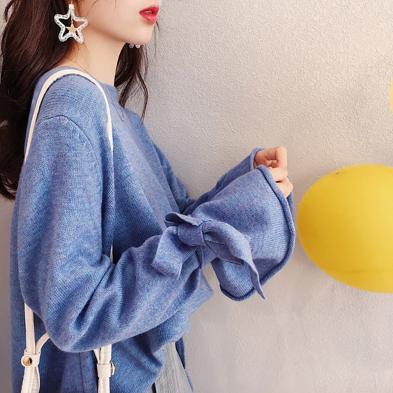 HSA 2018 Women Korean Fashion Pull Sweaters Oneck Flare Sleeve Knitwear Irregular Loose Jumpers Bow Cute Solid Pullover Tops