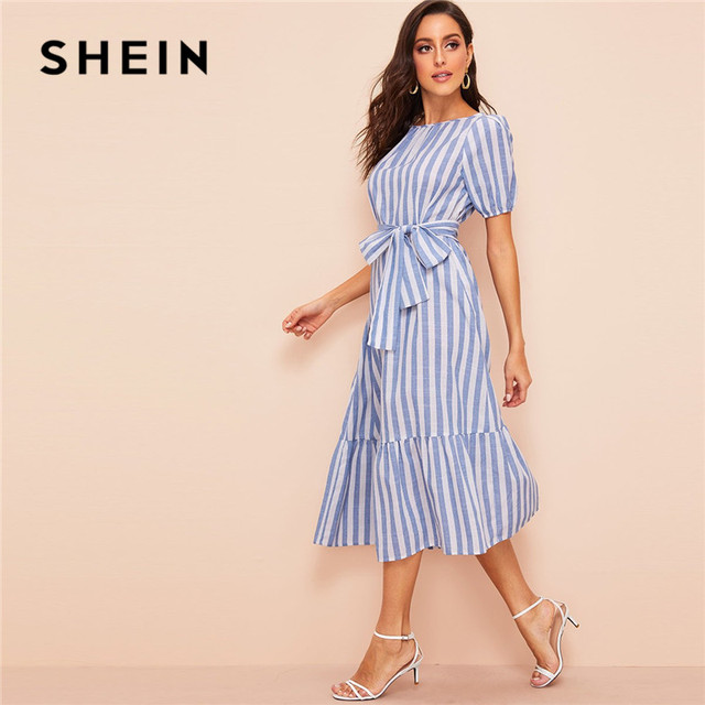 0a1069c09a SHEIN Lady Pleated Detail Belted Flippy Hem Striped Maxi Dress Women Casual  Cotton High Waist Puff Sleeve Summer Dress
