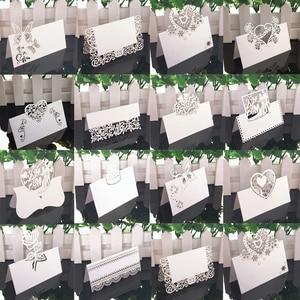 Image 1 - 50 Uds. De tarjetas de encaje blanco para decoración de boda, mesa de decoración, nombre, Mensaje, tarjeta de felicitación, suministros para fiesta de Baby Shower