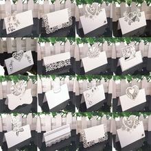 Cartões de nome do laço 50 peças, branco decoração da mesa do casamento nome da mensagem cartão de visita suprimentos do chá de bebê festa