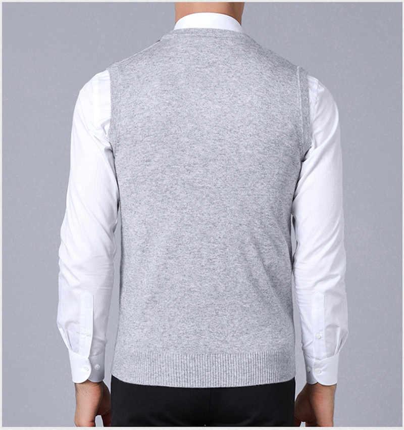 남성 파인 니트 스웨터 조끼 남성 스트라이프 풀오버 스웨터 헴 신사 슬림 피트 캐주얼 스웨터 민소매 풀오버