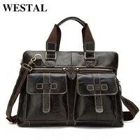 100 Genuine Leather Men Bag Brand Vintage Laptop Business Briefcase Men S Travel Bags Tote Men