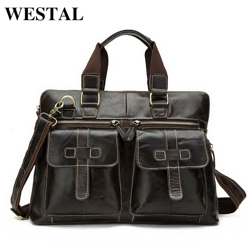 купить WESTAL Business Men Briefcase Handbags Genuine Leather Men Bag Messenger Bags Shoulder Crossbody Bags Leather Laptop Bag Male недорого